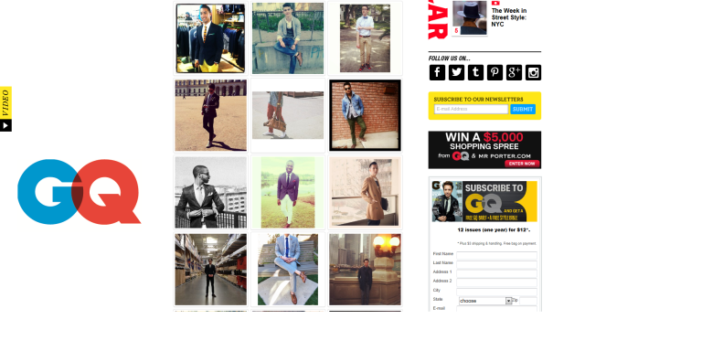 GQ Style Hunt contest. I'm third row, first column.